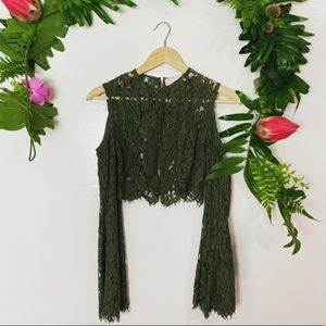 $155 keepsake the label REVOLVE green lace top